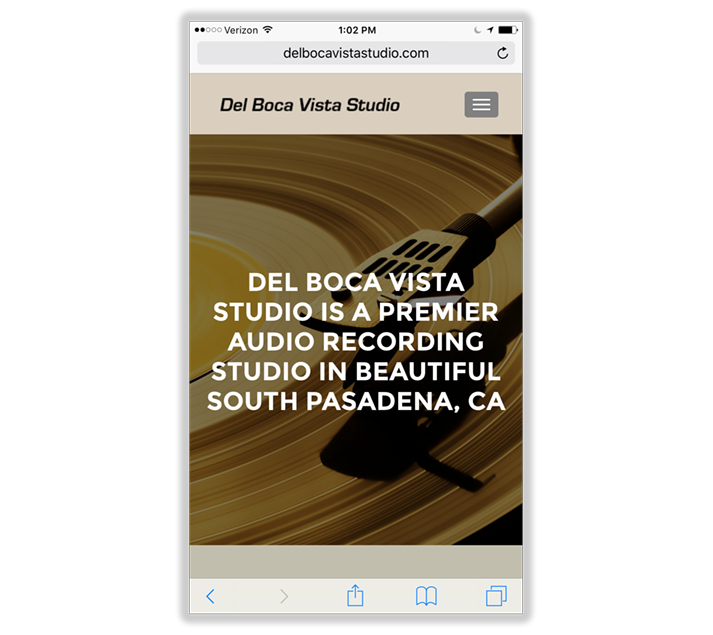 Mobile Web Design: Del Boca Vista Studios