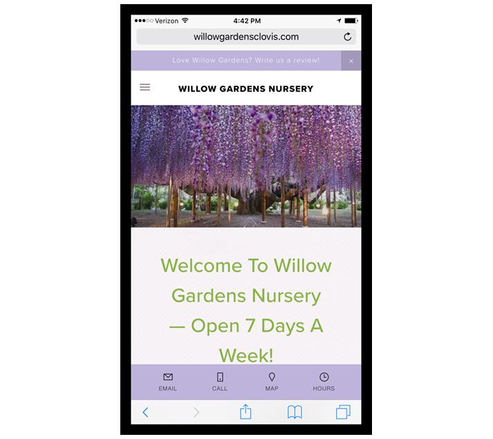 Mobile Web Design: Willow Gardens Nursery