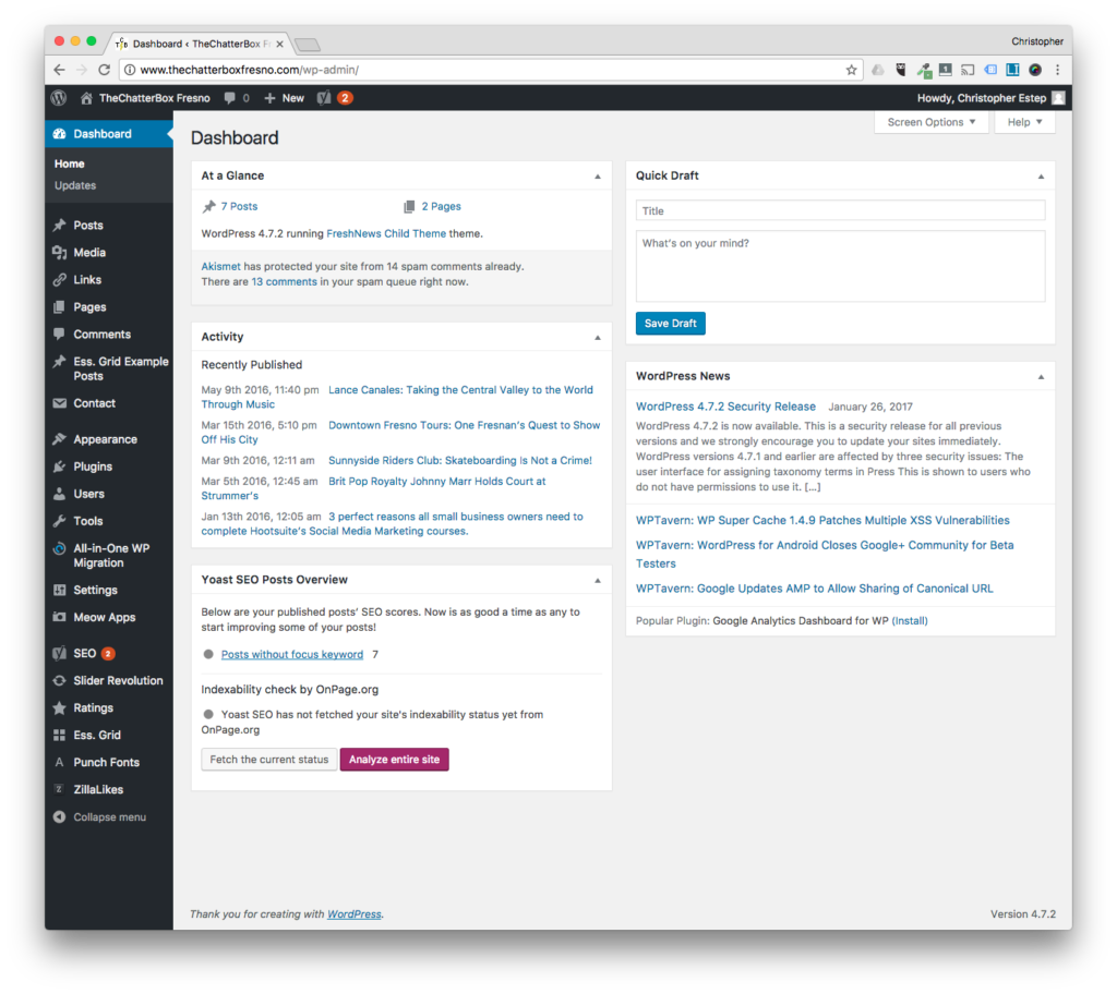 STEP 2. GET A LOOK AT YOUR WORDPRESS DASHBOARD