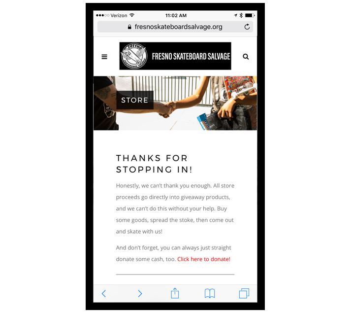 TCBGuys Mobile Web Design: Fresno Skateboard Salvage